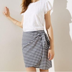 Loft Gingham Wrap Skirt
